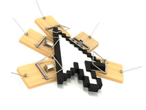 Mousetrap and cursor. Many mousetrap on circle cursor Royalty Free Stock Photo