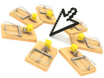Mousetrap and cursor. Many mousetrap on circle cursor Stock Image