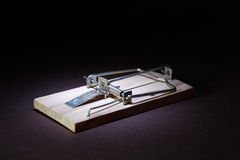 Mousetrap On Dark Royalty Free Stock Photos