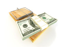 Mousetrap with dollar Stock Photo