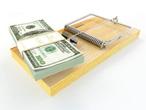 Mousetrap with dollar Royalty Free Stock Images