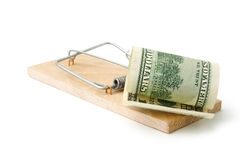 Mousetrap with dollar Stock Images