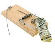 Mousetrap with dollar. The adaptation for catching mice and other fine rodents Stock Photos