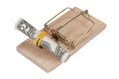 Mousetrap with dollar bill Stock Image