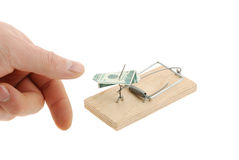 Mousetrap with dollar and finger Royalty Free Stock Photo
