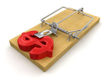 Mousetrap and Dollar Sign (clipping path included) Stock Image