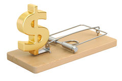 Mousetrap with dollar sign, 3D rendering. On white background Stock Photography