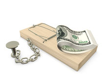 Mousetrap and Dollars. Mousetrap with dollars chained to the plane Stock Photo