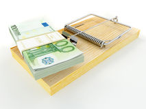 Mousetrap with euro Royalty Free Stock Photography