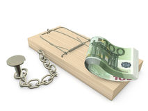 Mousetrap and Euro. Mousetrap with euro chained to the plane Royalty Free Stock Images