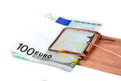 Mousetrap with euro bills Stock Photo