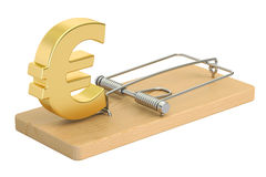 Mousetrap with euro sign, 3D rendering. On white background Royalty Free Stock Photography