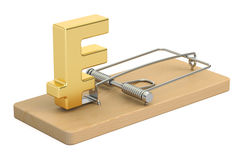 Mousetrap with franc sign, 3D rendering Royalty Free Stock Photos