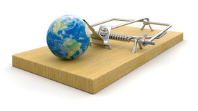 Mousetrap and globe Royalty Free Stock Photography
