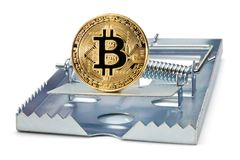 Mousetrap with gold bitcoin. Stock Image