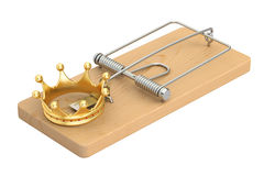 Mousetrap with golden crown, 3D rendering. On white background Stock Images
