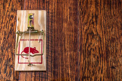 Mousetrap on Hardwood Floor Royalty Free Stock Photography