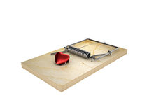 Mousetrap and heart Royalty Free Stock Photos