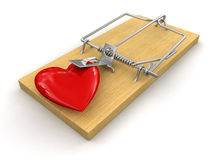 Mousetrap and heart (clipping path included) Stock Photo