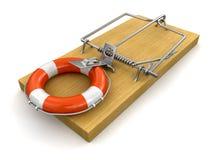 Mousetrap i Lifebuoy (ścinek ścieżka zawierać) Obraz Stock