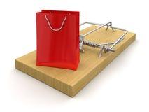 Mousetrap i torba na zakupy (ścinek ścieżka zawierać) Zdjęcia Royalty Free