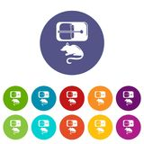 Mousetrap icons set vector color Royalty Free Stock Image
