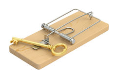 Mousetrap with key, 3D rendering. On white background Stock Images