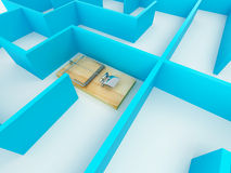 Mousetrap on labyrinth Royalty Free Stock Images