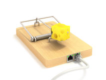 Mousetrap on lan port. Cable Royalty Free Stock Photo
