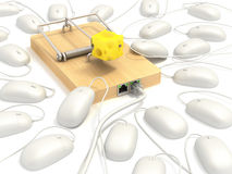 Mousetrap on lan port Royalty Free Stock Image
