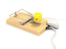 Mousetrap on lan port. Computer mouse Stock Photos