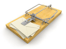 Mousetrap and letters (clipping path included) Royalty Free Stock Image