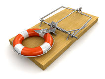 Mousetrap and Lifebuoy (clipping path included) Stock Image