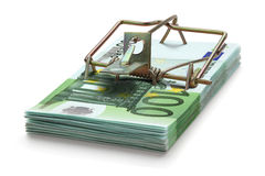 Mousetrap made of one hundred euro banknotes. Stock Photography