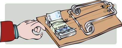 Mousetrap med dollartecknet som isoleras på vit bakgrund royaltyfri illustrationer