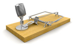 Mousetrap and Microphone (clipping path included) Royalty Free Stock Image