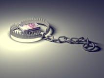 Mousetrap mit dem Dollarzeichen getrennt auf weißem Hintergrund Stockfotos