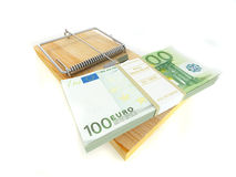 Mousetrap mit Euro Stockfoto