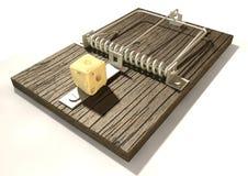 Mousetrap mit Käse-Perspektive Lizenzfreie Stockfotos