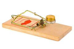 Mousetrap and money Stock Image