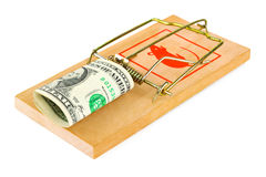 Mousetrap and money Stock Photography