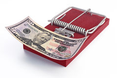 Mousetrap with money Royalty Free Stock Images