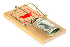 Mousetrap and money. Isolated on white background Royalty Free Stock Photos