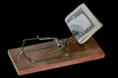 Mousetrap with money Royalty Free Stock Photography