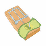 Mousetrap with money icon, cartoon style. Mousetrap with money icon in cartoon style on a white background Stock Photo