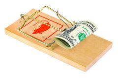 Mousetrap and money Royalty Free Stock Image