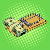 Mousetrap with money pop art style vector. Illustration. Comic book style imitation Royalty Free Stock Photos