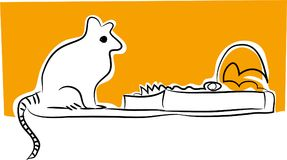 Mousetrap and mouse vector illustration. Stock Images