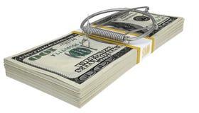 Mousetrap na paczce pieniądze pojęcia prowadzenia domu posiadanie klucza złoty sięgający niebo obrazy stock