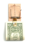 Mousetrap with one dollar Royalty Free Stock Photos